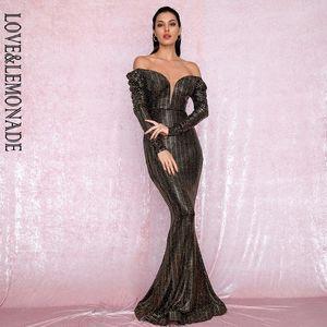 LOVE&LEMONADE Sexy Open Shoulder Gold Sequins Composite Bubble Long Sleeve Bodycon Party Maxi Dress LM81926