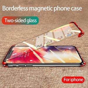 iphone maksimum telefon kılıfı Çerçevesiz manyetik telefon kılıfı çift taraflı temperli cam damla koruma kapağı Destek 2PCS teslimatı xs için