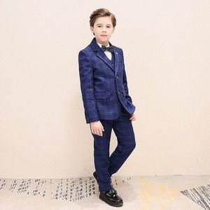 Fashion Boy Formal Wear Lapel Boy Kid Attire Kids Clothes Three-Piece Boys Suits For Wedding(Jacket+Pants+Shirts) BmY4#