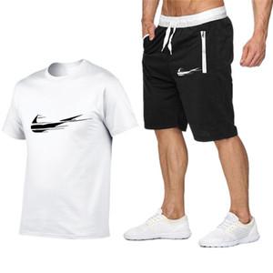 Конструктор Men Summer Tracksuit Tee рубашки Homme набор Мужские тенниски Шорты Брюки Мужчины Повседневная Двухкусочный нарядах футболки шорты размер S-2XL T365