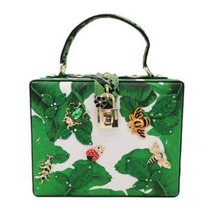 FGG totes women's banana leaf square insect Hand box hand Banana handbag printing evening dinner bag