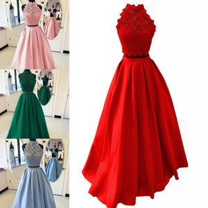 2021 Halter Lace Satin Prom Homecoming Dresses Long Two Piece Sexy Halter Criss Cross Backless Draped A-line Graduation Sweet 15 Dress Cheap
