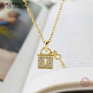 Obear neue 100% 925 Sterling Silber Micro Zircon Schloss und Schlüssel-Anhänger-Halskette für Frauen-Schmucksachen Geschenk ESCW #
