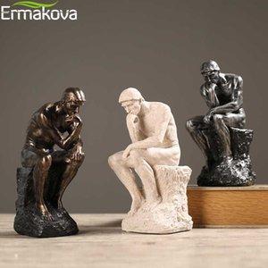 Ermakova Abstrakte Kunst Thinker Statue an Sie denkt, Figurine Natursandstein Craft Skulptur Modern Arbeitszimmer Dekoration T200330