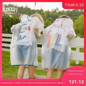 1UPMa set trasparente zainetto ragazze Schoolbag Rain boots stivali da pioggia poncho impermeabile carino per gli studenti della scuola primaria i bambini e ragazzi wi