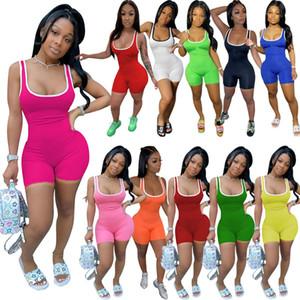 womens summer clothes sports jumpsuits sleeveless vest shorts bodysuit designer romper sexy slim onesies sportswear plus size clothing