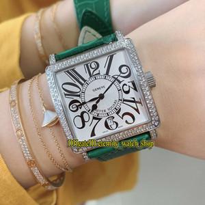 Лучшая версия Новая Master Square 6002 M QZ COL DRM V D белый циферблат ETA A2824 Автоматическая Женщина Часы Iced Out алмазным декор Безель Lady-часы