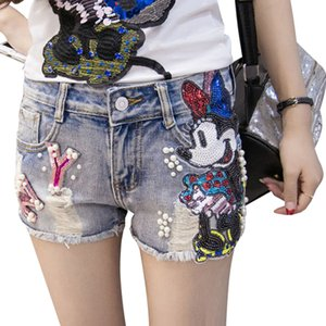 2020 Summer Women Cartoon Pattern Sequins Micke Denim Shorts Hole Sexy Slim Beading Hot Jeans Shorts With Pearls