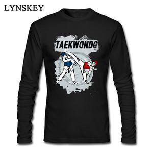 High Quality Taekwondo Head Kick Cartoon Print Mens T-shirt Man Tee Shirt Long Sleeve Black Custom For Groups