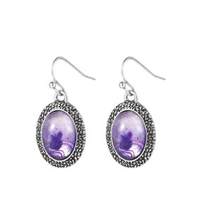 10 Pairs Silver Plated Oval Shape Amethyst Crystal Dangle Earrings for Women Gold Sand Stone Jewelry