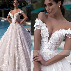 Off The Shoulder Wedding Dresses Tassel Sleeve Lace Country Boho Wedding Gowns Plus Size Wedding Dresses Bridal Gowns Robe De Mariee
