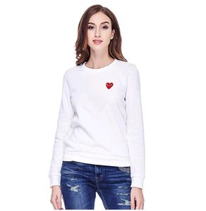 Free shipping 2019 new doodle black White long-sleeve Hip hop Women's Stand Collar Sweatshirt 100% cottonLittle red hearts