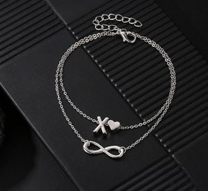 Boho Double Layers DIY Name Initial Letter Anklets For Women Love Heart Infinity Ankle Bracelet Foot Couple Jewelry Mujer Accessories