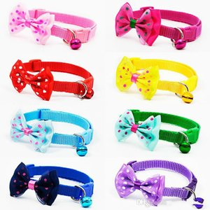 50PC Lot Bowknot Cute Pets Pet Adjustable Polyester Dog Collars Puppy Collars With And Bells Necklace Collar For Dogs Cat Collars