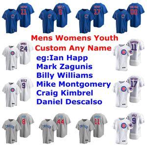 2020 Baseball Maillots Femmes Victor Caratini Jersey Kerry Wood Mark Grace Ron Santo Sammy Sosa Ian Happ Bleu Gris personnalisé Cousu