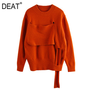 [DEAT] Hollow Out Knitted Pullovers Sweater Loose Fit Round Neck Long Sleeve Women New Fashion Tide Spring Autumn 2020 13S842
