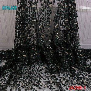 Nigerian Beaded Lace Fabric 2020 High Quality African 3D Net Lace Fabric Wedding French Tulle Material For Dress YA2429B 1 Ribbon Baby 7jHE#