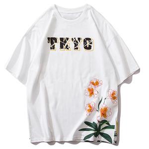 Çiçekler 2020 Hip Hop Harajuku Japonya Stili Kısa Kollu Moda Streetwear Casual Pamuk Tees Tops T Shirt Men yazdır