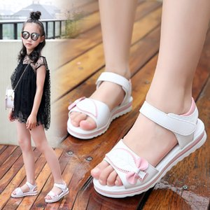 Summer kids beach sandals for girls 2019 cute princess leaves bow shoes students soft bottom pink and white size 27-36 Y200619