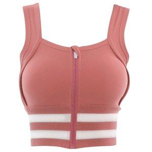 Women Yoga Sport High Impact Bra Push Up Zipper Shockproof Workout Crop Top Vest M68D
