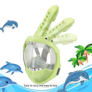 Full Face Kids Snorkel Mask Foldable 180 Degree Panoramic View Snorkeling Mask Anti Fog Anti Leak Snorkel