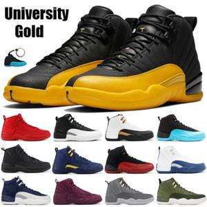 Jumpman Schwarz Universität Gold 12 Basketball-Schuhe weiß dunkelgrau Reverse-Flu Spiel 12s irisierend reflektierende Sonnenaufgang Mens Turnschuhe Turnschuhe