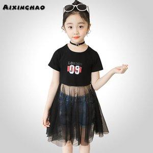 Девочка платье Letter Pattern Party Girl Dress Casual Kid тенниска подростки Детская одежда для девочек 6 8 10 12 14