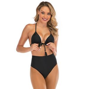 Le donne del bikini Swimwear 2020 conservatore che copre il ventre Bikini Sé coltivazione sottile di esposizione di modo di colore solido del costume da bagno Split corpo 37hs D2
