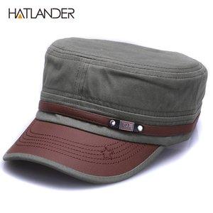 [HATLANDER]New fashion cotton hats for men women adjustable Flat top Army caps naval vintage solid visor sun hat gorras