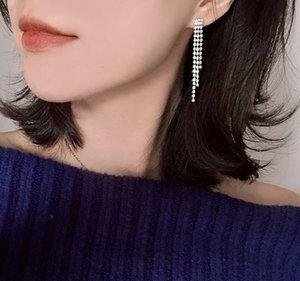 European and American Simple Length Full Diamond Slim Tassel Earrings Fashion Supermodel Street Shot Net Red Celebrity Style Temperament Fem