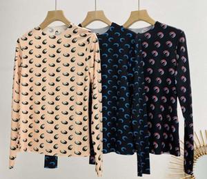 20ss Loog manica Marine Serre che basa la maglietta delle donne di sovrapposizione Mezza luna alta Aderente T Marine Serre Girl T-shirt