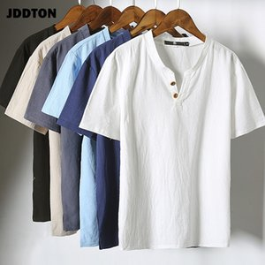JDDTON verano nuevos hombres camiseta de algodón de lino casual japonesa Estilo de Calle HarajukuKimono Moda Hombre Camiseta de manga corta JE023