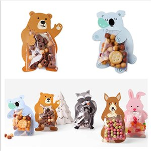 100pcs Cute Animal Bear Birthday Cookie Bag Wedding Candy Gift Packaging Bags OPP Card bag Party Favor Cakebag Decorative