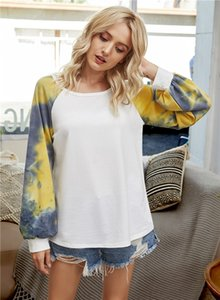 Tie Dye Patchwork Womens Tshirts Long Sleeve Home Casual Womens Designer Tees Round Neck High Quality Female T Shirts