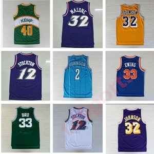 Retro Basketball Jerseys 33 Larry Bird 12 Johnson Stockton 32 Karl Malone Jason Williams Ewing Gary Payton Kemp Barkley Jersey Ncaa