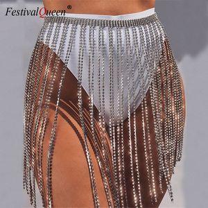 Glitter Rhinestone Long Tassel Skirts Gold Silver Crystal Diamonds Loose Adjustable Sexy Women Summer Beach Bikini Mini Skirt T200712