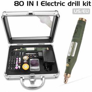80-IN-1 Mini Electric Rotary Drill Grinder Mit Schleifen Zubehör Set Multifunktions Graviermaschine Power Tool Kit UByr #