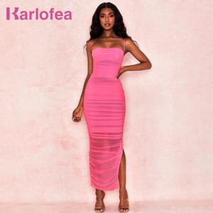 Karlofea Women Mesh Maxi Dress Summer Sexy Strap Split Ruched Organza Vestidos Summer Daily Outwear Night Club Party Long Dress