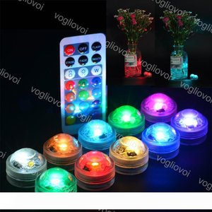 Underwater Lights 3LED Round Submersible 10Pcs Set Knob Waterproof IP67 Multicolour With 21keys Controller For Party Flowerpot Fish Tank EUB