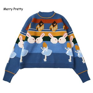 Merry Pretty Women Thick Warm Sweaters Embroidery Student Jumper Knitted Pullovers Female Drop Shoulder Sweet Funny Sweater