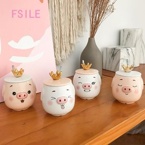 FSILE My drinking cup pink white pig ceramic cup with lid spoon cute cartoon breakfast milk mug girl couple gift coffee cup T200506