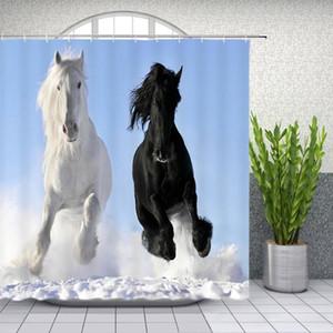 Black Horse Branco cortinas Strong duração animal na neve Casa de Banho Casa Decor Banheira poliéster impermeável cortina Set