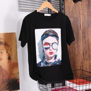 DONAMOL Yaz Kadın beyaz elbise 2020 yeni moda Batı tarzı Gevşek Artı boyutu T-shirt siyah Baskı Aplikler en iyi kadın