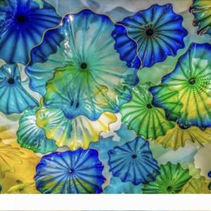 Камин цветок украшения стены искусства American Mouth выдувные Murano Стеклянные пластины Wall Art Синий Зеленый Желтый стекло Бра Бесплатная доставка