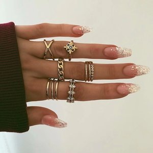 Rings Set Vintage Rhinestone Finger Ring Sets for Women Gypsy Dancer Boho Party Jewelry
