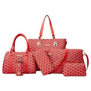 6pcs / set del sacchetto del progettista composito sacchetto della signora di moda coreana versione Style Pu Femminile Borsa a tracolla Crossbody borsa Telefono pacchetto per le donne