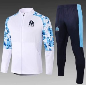 20-21 enfants Olympique de Marseille Survêtement adulte costume de formation de football Maillot de Foot PAYET THAUVIN OM Survêtement de jogging veste de football