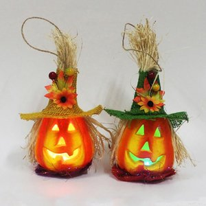 Halloween LED Hanging Night Light Hollow Pumpkin Lantern Lamp with Hat LED Light Lamp Lantern Party Halloween Bar Home Decor