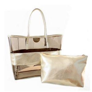 4 Color Women Fashion Shoulder Bags PVC Transparent Composite Bags Set Female Shoulder Bag with Cosmetic Bag Large capacity storage Bag