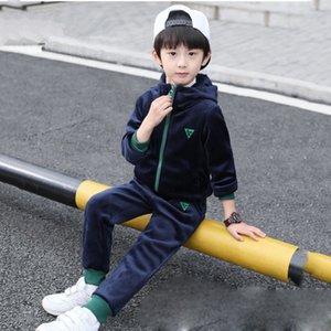 Children Boy Girl Autumn Winter Warm Velvet Velour Tracksuit Clothes Set Toddler Kid Clothing Letter Long Sleeve Teen 6-12 Years